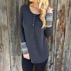 Scoop Long Patchwork Sleeves Straight Fashion Blouse