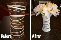 centrepieces for the tables    $2 vase from kmart, rubber bands and spray paint (purple or silver)  put candle in the bottom and we have a cheap centrepiece.    can them give them away at the end of the reception!