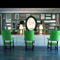 The chairs and mirrors.