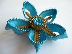Aquamarine & gold zipper brooch + hair pin $12