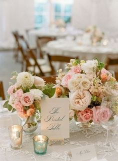Vintage Wedding Romantic Vintage Wedding Table Centerpiece < Wedding Table Centerpieces - Southern Living - Appealing wedding table centerpieces are the key to an elegant backdrop. Floral Wedding, Fall Wedding, Wedding Bouquets, Our Wedding, Wedding Flowers, Dream Wedding, Blush Weddings, White Weddings, Wedding Cake