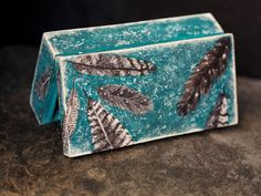 Feather Home Decor, Home Box Decor, Art Jewelry Box, Feather Box, Blue Wood Box, Turquoise Decor Box, Decoupaged Wooden Box, Teal Blue Box Home Decor Boxes, Blue Wood, Jewellery Boxes, Wood Boxes, Jewelry Organization, Teal Blue, Organizers, Jewelry Art, Decorative Boxes