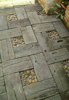 Recycled lumber & pebble path