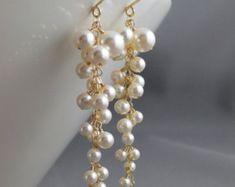 Boucles d'oreilles mariées, boucles d'oreilles mariage, perle boucles d'oreilles grappe, longue cascade dangle, or 14K, Swarovski blanc ou ivoire perle