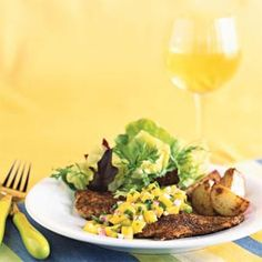 Blackened Yellowtail Snapper with Mango Salsa Recipe You can use any flaky white fish - we like Tilapia, Haddock, Cod, Catfish but especially Flounder! Fish Recipes, Seafood Recipes, Great Recipes, Healthy Recipes, Favorite Recipes, Recipies, Dinner Recipes, Ceviche, Seafood Dishes