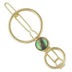 Round Hollow Out Faux Gem Hairpin