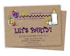 Get the funny adult Baby Shower Invitations you've been looking for, for your toast cheers baby shower featuring a faux kraft background and
