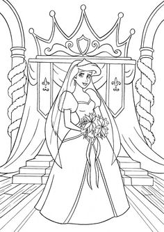 kolorowanka księżniczka Ariel z bajki Disney Mała Syrenka nr 26