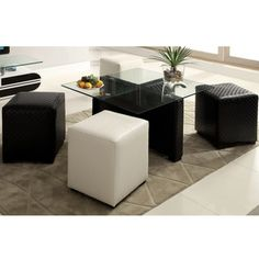 Furniture of America Mitch Contemporary 2-tone 8 mm Glass 4-Ottoman Nesting Table Set | Overstock.com Shopping - Great Deals on Furniture of America Ottomans