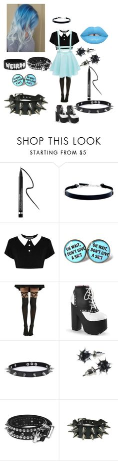 """""""pastel blue"""" by creepypasta-lover-xex ❤ liked on Polyvore featuring Clinique, DKNY, Killstar, Hot Topic, Trend Cool, Bullet and Lime Crime"""