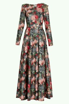 Flower print maxi dress with long sleeve