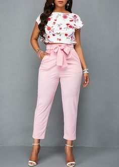 Flower Print White Top and Pink Belted Pants Classy Work Outfits, Cute Casual Outfits, Classy Dress, Stylish Outfits, Fashion Pants, Fashion Outfits, Fashion Jumpsuits, African Fashion Dresses, Dress Outfits