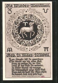 Alte Ansichtskarte: AK Die Widder-Menschen, Horoskop, Astrologie, Sternzeichen
