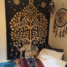 Dorm Room Decoration with Tapestry and Dream Catcher.