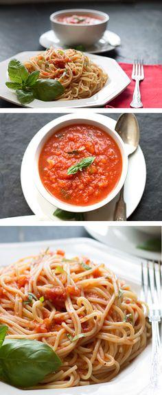 QUICK & EASY TOMATO BASIL PASTA SAUCE - Erren's Kitchen #pasta #delicious #recipe #Nomnom