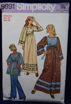 1970's Sewing Pattern for a Maternity Dress in Size 12 - Simplicity 5991