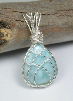 Larimar Wire Wrapped Pendant  Healing by LunaCelesteAustralia