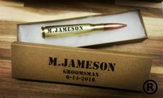 this is a registered trade mark product of caliber corporation this is the real deal be ware of fakes set of 6   Custom laser engraved real decommissioned 50 caliber bullet bottle opener engraved with your name or message  great for birthdays groomsman gifts best man and fathers day gifts    comes with gift box optional When ordering write in the notes to seller section name to be engraved and design choice