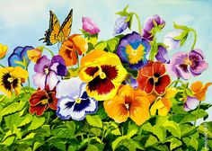 Title:Pansies With Butterfly  Artist:Janis Grau  Medium:Painting - Watercolor On Arches Paper