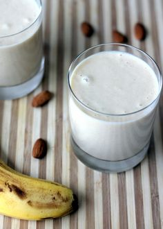 Vegan Almond Butter, Banana, + Oat Smoothie :: A sweet and creamy smoothie made with ripe frozen bananas, almond butter, and oats. Makes a delicious, filling breakfast or the perfect after workout snack! via Ambitious Kitchen #healthy