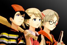 Ninten, Ana, and Loid from earthbound zero Hey, look, it's father.