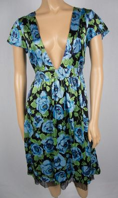 FREE PEOPLE Dress S 100% Silk Crinkle Texture Mesh Trim Blue Green Floral Deep V