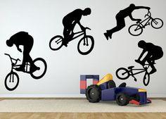 reusachtige bmx jongen fiets fiets kunst aan de muur sticker sticker thuis diy decoratie muurschildering verwijderbare slaapkamer decor sticker 75 x 46cm
