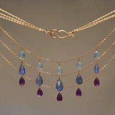 Its-Elemental.com #healinggemstonenecklaces #amethyst #bluetopaz #labradorite wear together or singly