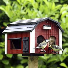 Fågelmatare i trä, Röd, 695kr, Gecko Trädgårdsbutik