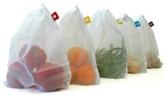 Produce Bags, Set of 5 - $11.00 »  Product pick: Why stop at reusable grocery bags? This cute set from Branch will let you skip the plastic bags in the produce department too. modern food containers and storage by Branch. This is exactly what you want for a truly 'eco-friendly' household! #ecofriendly #producebags #reusablebags #branchbags