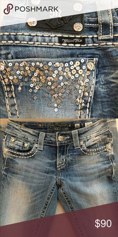 MissMe Jeans Light wash, sequin pockets, skinny jeans Miss Me Jeans Skinny