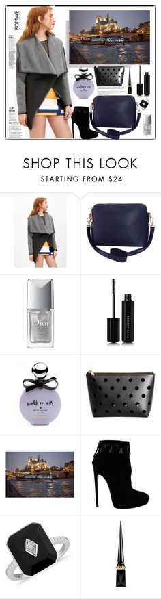 """""""Romwe.Spring black-and-grey coat"""" by natalyapril1976 ❤ liked on Polyvore featuring Humble Chic, Christian Dior, Marc Jacobs, Kate Spade, Alaïa and Christian Louboutin"""
