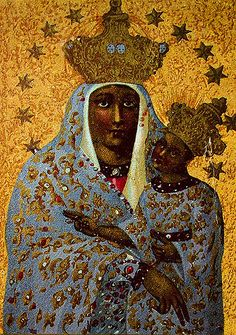 Polish Black Madonna by Nigra suM Divine Mother, Blessed Mother Mary, Religious Icons, Religious Art, African American Art, African Art, La Madone, Black Jesus, Mama Mary
