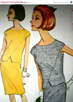 "SALE:) Vintage Sewing Pattern, McCall's 7782 - 1960s High Fashion Sleeveless Two Piece Dress - bust 32"" - Cut/Complete"