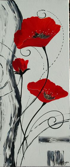 Tableau moderne coquelicots en rouge et noir. Peinture acrylique sur toile châssis 3D 30x100. Peint à la main. Modèle unique. par artiste peintre décoratrice Raffin Christine. Page Facebook : L'étoile de Chris