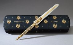 The pen Queen Elizabeth II used to sign her Coronation oath. Do we think the Queen would like a nice notebook to go with this fountain pen?  #WilliamHannahUK #pens #fountainpens #oath #queen #royalty  www.williamhannah.com