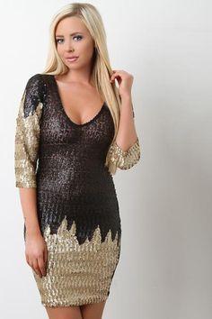Sequin Mesh Scooped Neck Mini Dress-Clothes, Dresses-Whurk