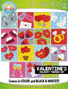 VALENTINE'S DAY Create Your Own Color By Code Clipart Set