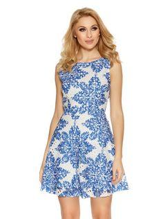 White And Blue Crochet Paisley Print Skater Dress