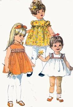 1960s Toddlers Yoked Smock Dress Simplicity 8016 Vintage 60s Sewing Pattern Size 1 by sandritocat on Etsy