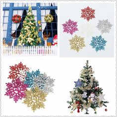 6Pcs Glitter Snowflake Shape Christmas Tree Hanging Ornament Xmas Window Decoration