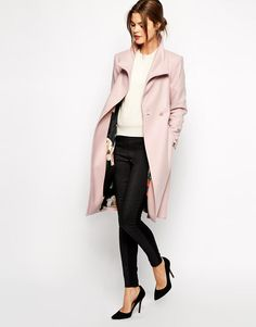 Pink | Ted Baker Belted Wrap Coat in Pale Pink at ASOS