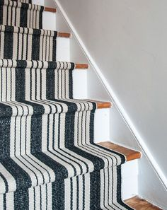 Our DIY Stair Makeover: Paint + Runner from @designsponge featuring #DashandAlbert's Birmingham Black Woven Cotton Rug: