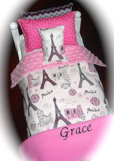 American Girl Doll Grace Personalized Paris Glitter Doll Bed Bedding 18 Inch…