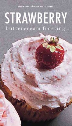 Strawberry Buttercream Frosting | Martha Stewart Living - This recipe is paired with Strawberry Cupcakes.