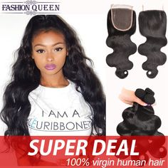 Brazilian Virgin Hair With Lace Closure 3 Bundles Brazilian Body Wave With Closure Mslove 7a Human Hair Bundles With Closure #clothing,#shoes,#jewelry,#women,#men,#hats,#watches,#belts,#fashion,#style
