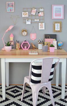 DIY home office decor Room Design Bedroom, Girl Bedroom Designs, Room Ideas Bedroom, Home Room Design, Diy Bedroom Decor, Desk For Girls Room, Desks For Girls, Design Hall, Bedroom Decor For Women