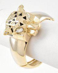 So Fierce Gold Leopard Statement Cuff Bracelet-$28-Find hot fashion jewellery and statement jewlry at Strike Envy. #jewellery #jewlry