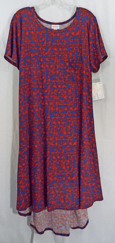 Womens LuLaRoe Dress Carly Large Red Blue Hi Low Hem NWT #LuLaRoe #AsymmetricalHem #WeartoWorkCasualEveningout