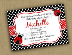 Printable Baby shower Ladybug Invitation by QTpartyDesigns, $9.50